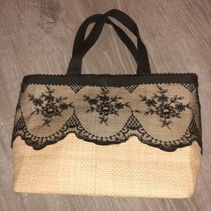 Bamboo and lace tote